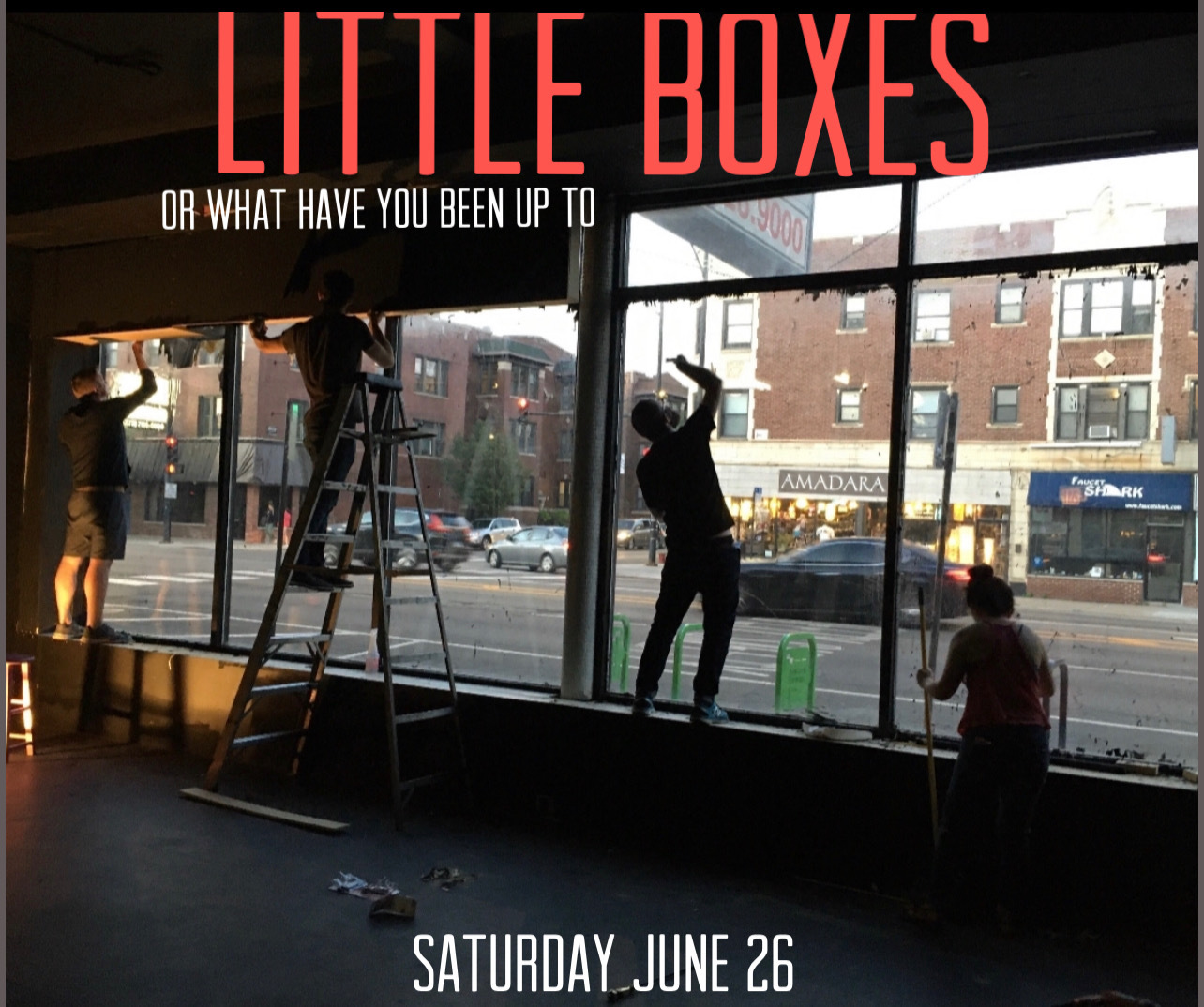 """Logo of Red Tape Theatre's """"LIttle Boxes or What Have You Been Up To"""""""